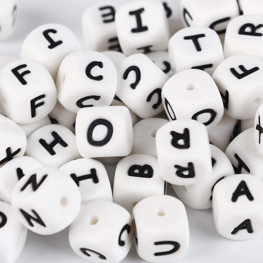 TYRY.HU 10pcs Silicone Letter Beads Alphabet Baby Teether Beads BPA Free Baby nursing Chewable Beads DIY Teething Necklacce