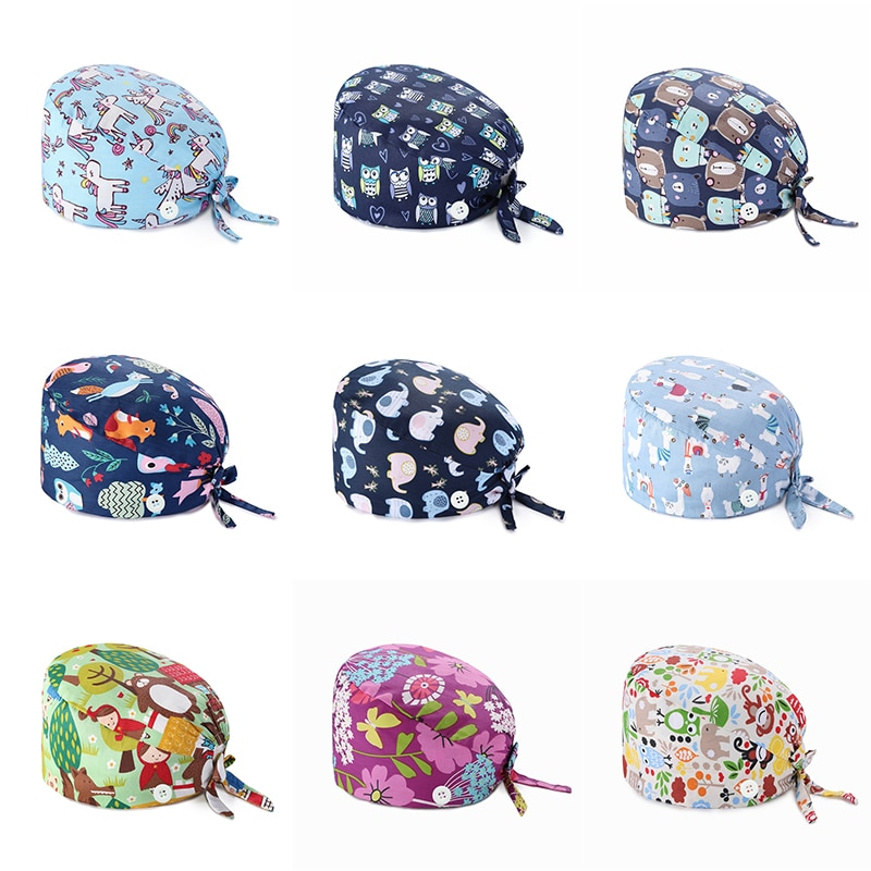 Adjustable Fashion Print Scrub Hat Dust-Proof Cap Cotton Nurse Cap Bandage Men Women Surgical Hat Cap Gorro quirúrgico
