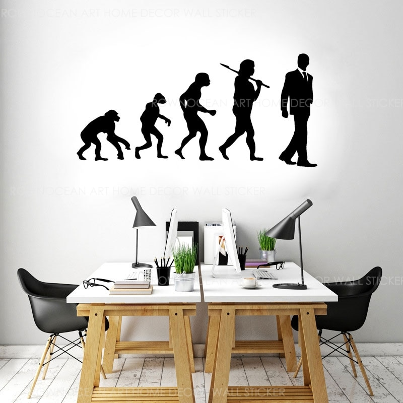 Evolution Of Man Office Success Wall Sticker Vinyl Art Decor Interior Design Wall Decals  Decoration Removable Mural A579