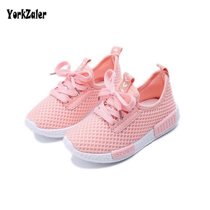 Yorkzaler/весенне-Осенняя детская обувь; Коллекция 2017 года; Модные сетчатые Повседневные детские кроссовки для мальчиков и девочек; Дышащая Спортивная обувь для малышей