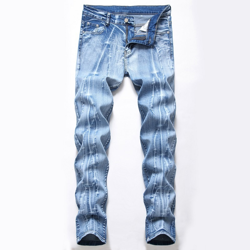 Los hombres de los pantalones vaqueros Slim recto de hacer-pantalones de mezclilla lavado blanco casual salvaje pantalones ropa de calle Punk 28-42