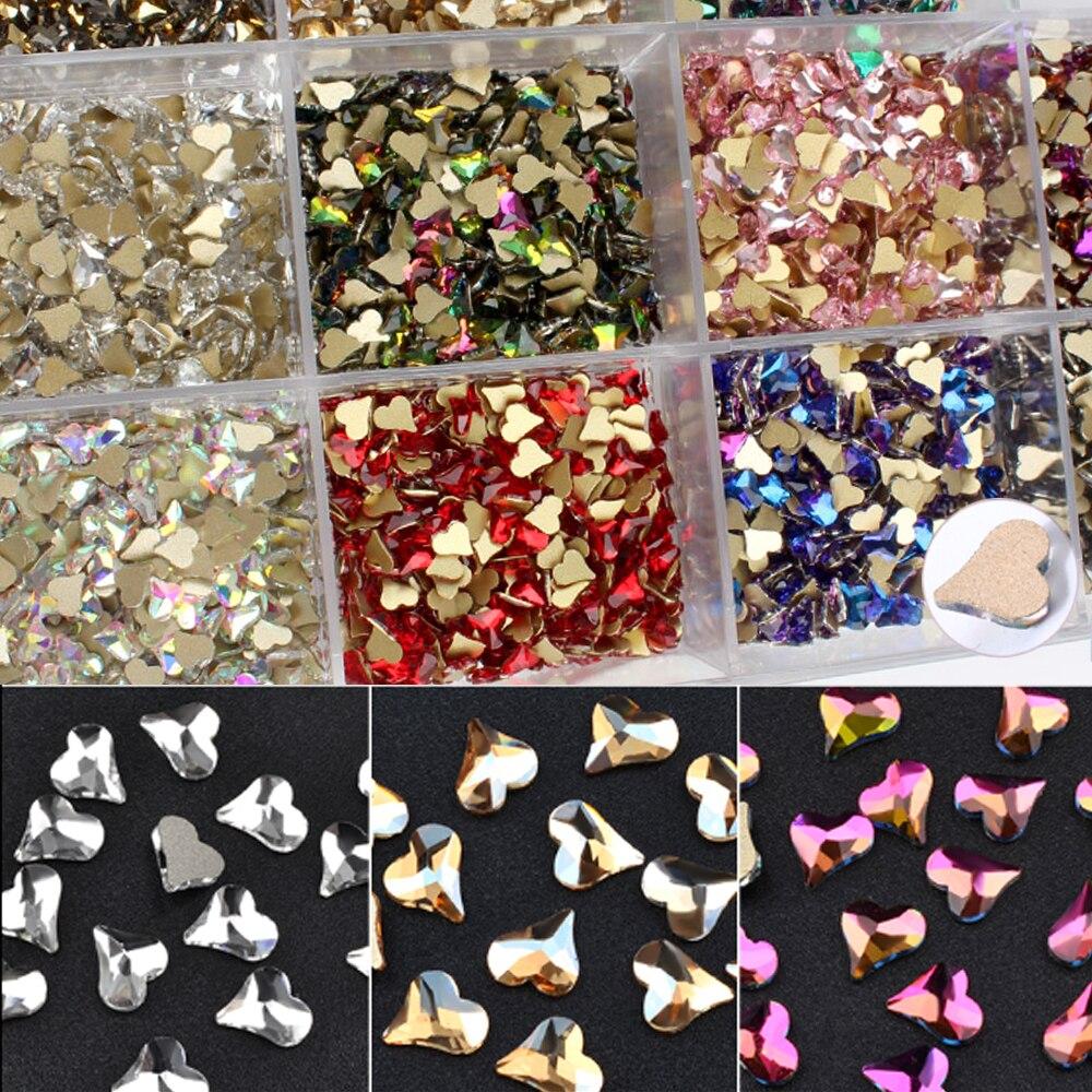 Arte de uñas popular cristal Diamante de imitación corazón torcido 12 colores piedra Glamour cristal Rhinestone joyería para uñas en 3D herramientas de arte de uñas