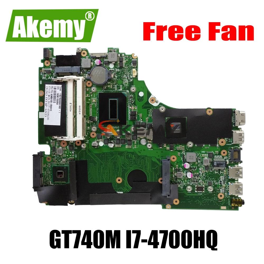 Fã livre 100% original Novo X750JB mianboard Para For For For Asus X750 X750J X750JN K750JB K750JN A750J laptop motherboard I7-4700HQ GT740M