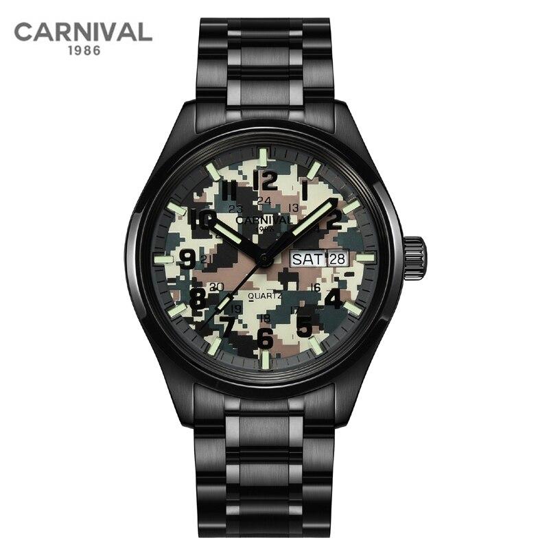 Carnival Top Brand Fashion Camouflage Watch Man Luxury Waterproof Luminous Calendar Military Quartz Wristwatch Relogio Masculino