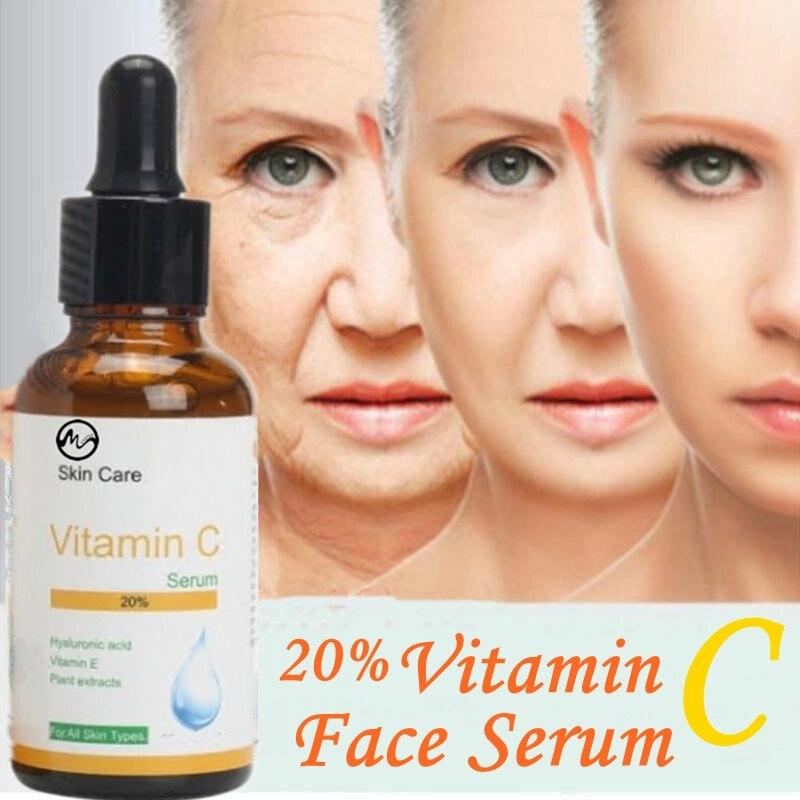 Minch 50ml 20% Vitamin C Face Serum Hyaluronic Acid Skin Oil Anti-wrinkle Whitening Anti-aging Moist