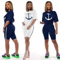2021 two piece short sleeve t shirt navy sports suit boat anchor printing set