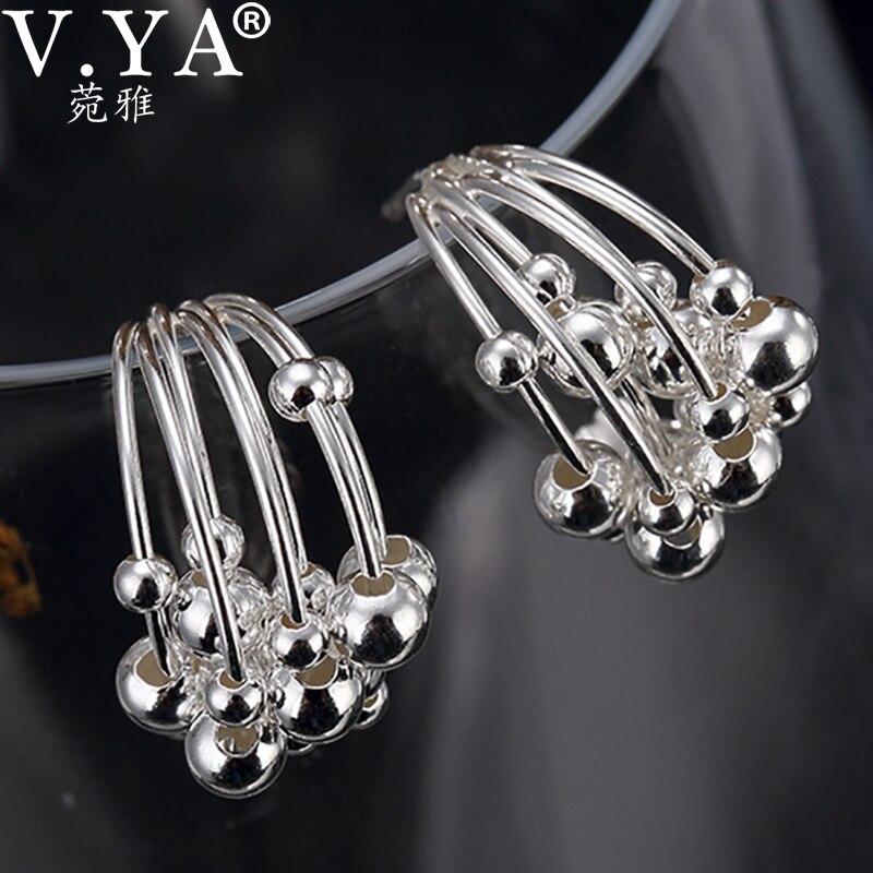 V.YA 925 Sterling Silver Round Beads Earring for Women Girl Elegant Dangle Hoop Ear Pendant Earrings Women Fashion Jewelry