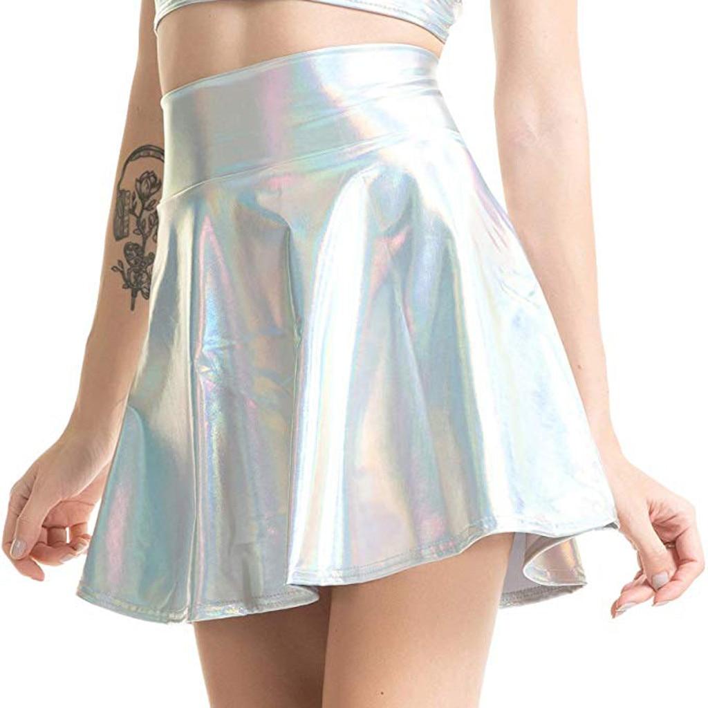Shiny Sexy Solide Minirock Frauen Hohe Taille Metallic Ausgestelltes Plissee A-linie Rock Skater Röcke 3 Farben Damen Club Mini Röcke