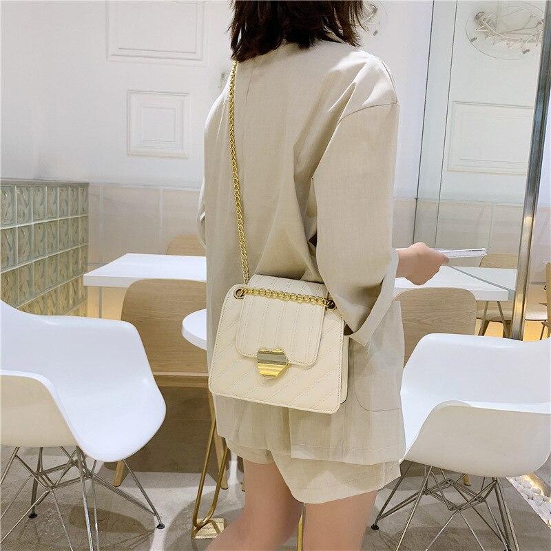 Baitao mujer 2019 nuevo famoso Yuanfeng botón de bloqueo solo bolso de hombro línea de costura Occidental Slant bolso cuadrado
