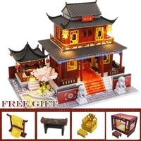 doll house hand make wooden assemble doll houses miniature dollhouse furniture kit with led toy puzzle children christmas gift