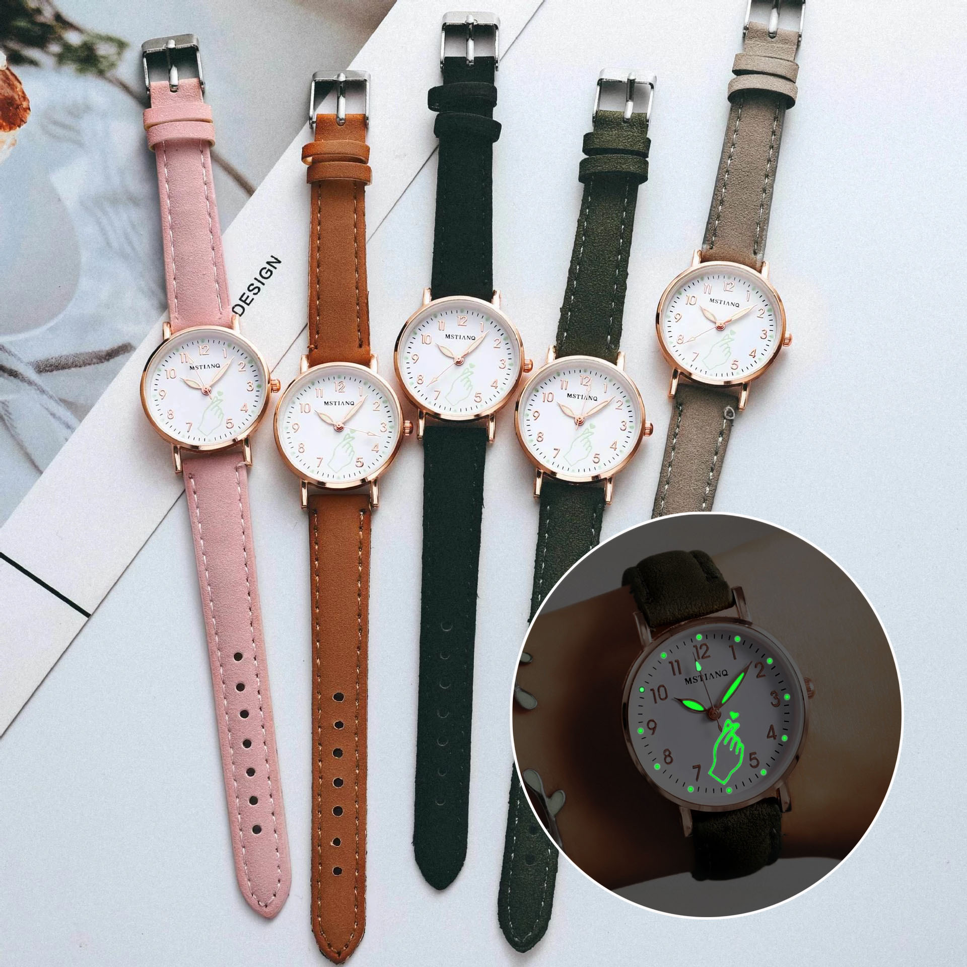 Luminous Watch Ladies Fashion Casual Belt Watch Simple Ladies Small Dial Quartz Clock Women Watches Relojes Para Mujer anke store new womens bracelet watch diamond small dial fashion luxury elegant quartz gold women watches relojes para mujer
