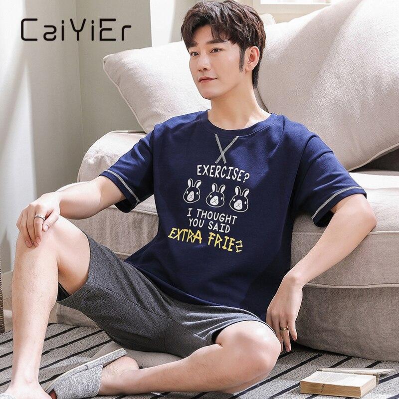 CAIYIER новинка лето мужские пижамы короткие рукава шорты мультфильм принт одежда для сна повседневная полосатая пижамы костюм мужские милые пижамы L-3XL
