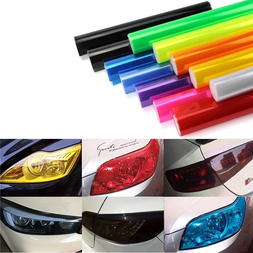 Car Styling Sticker 180*30CM Light Membrane Headlight Translucent Rear Film Fog Lamp Heterochrosis