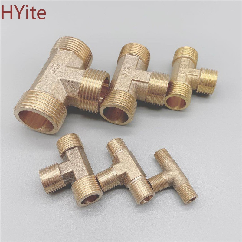 Copper 1/8 1/4 3/8 1/2 3/4 1BSP Male Thread Tee Type 3 Way Brass Pipe Fitting Adapter Coupler Connector For Water 304 stainless steel male bsp 1 8 3 8 1 2 1 4 inch thread 6 16mm pipe fitting hose barb tails connector joint coupler adapter