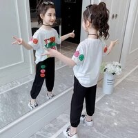 children clothing sets summer girls sports suit cotton letter short sleeve t shirt pants 2pcs girls clothes 6 8 9 10 12 years