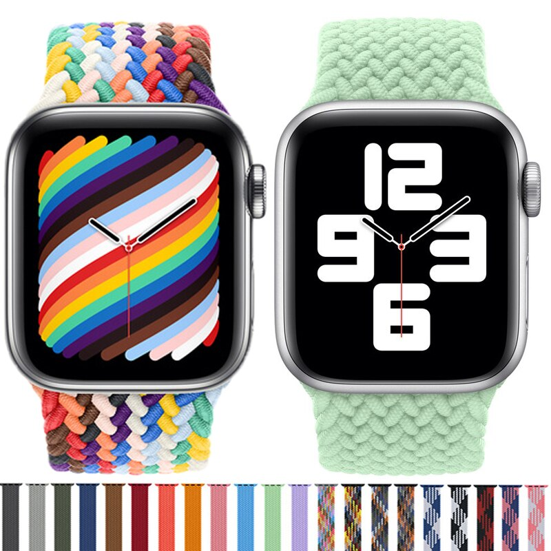 1 1 offical strap for apple watch series 6 5 se 4 braided solo loop 40mm 44mm woven watchbands for iwatch 3 2 1 38mm 42mm strap Fabric Nylon Solo Loop For Apple Watch Band 44mm 40mm 42mm 38mm Braided Elastic Belt Bracelet iWatch Series 1 3 4 5 SE 6 7 Strap