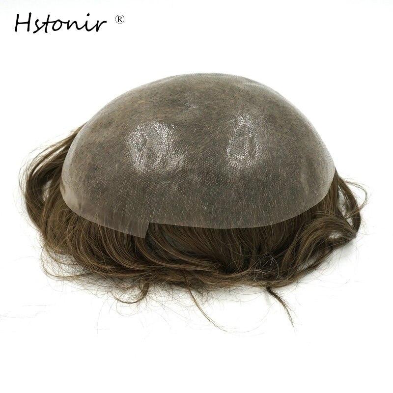 Hstonir completa PU piel fina tupé 6 unids/lote pelo Remy indio 100% hecho a mano puro Hombre pelo sistemas H080