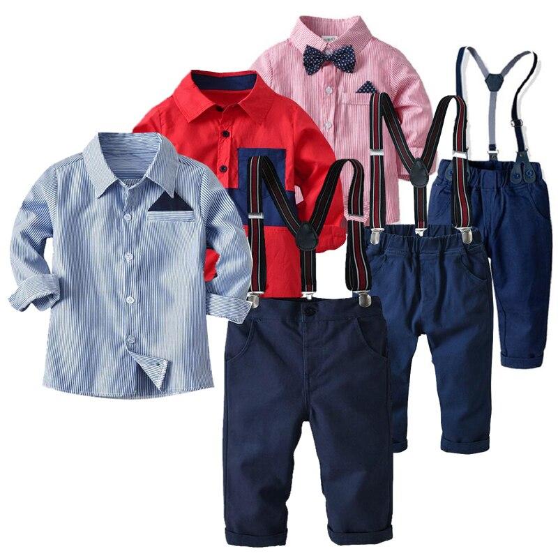 Новый хлопковый костюм для маленьких мальчиков с длинными рукавами, галстуком-бабочкой + рубашка + брюки, детская одежда для джентльменов 2, 3, 4, 5, 6, 7, 8 лет