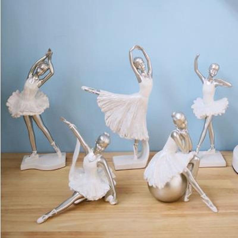 Escritório em Casa Decorações de Mesa Criativo Europeu Ballet Menina Estátua Artesanato Bonita Presente Aniversário 2021
