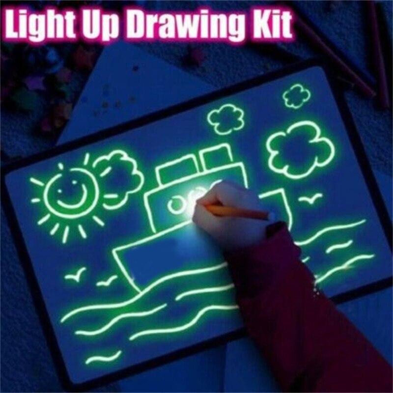 1 Uds A3-A5 tablero de dibujo luminoso LED Graffiti Doodle dibujo Tablet dibujo mágico dibujar con luz diversión y Juguete del desarrollo para niños regalo