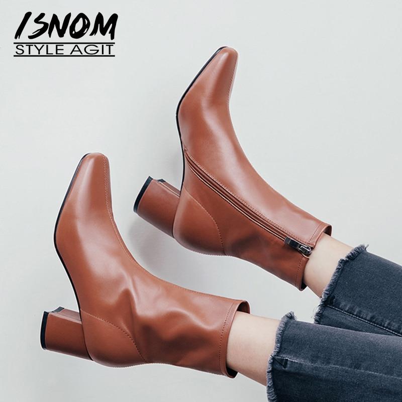 ISNOM-حذاء نسائي من جلد البقر بكعب عالٍ ومقدمة مربعة ، أحذية شتوية بمقدمة مربعة مع سحاب للحفلات ، 2020