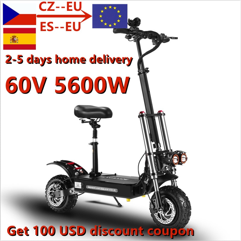 Free Shipping 11 inch 60V5600W Electric Scooter adult High Speed Off-Road Dual Drive Folding Electric Vehicle