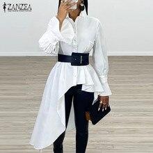 Camicetta asimmetrica da donna 2021 ZANZEA camicie eleganti con maniche svasate abbottonatura Casual Blusa bavero femminile Top oversize