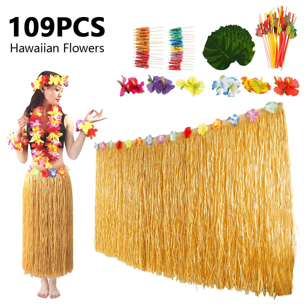 Juego de flores artificiales con falda de mesa 109 Uds., collares de flores hawaianas tropicales, decoración de granja, Corona de Navidad