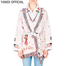 YAMDI Mulheres Inverno Outwear Outono 2019 Runway Designer Chic Bordado De Lã Mistura Casaco Cardigan Solto Plus Size Casaco de Borla