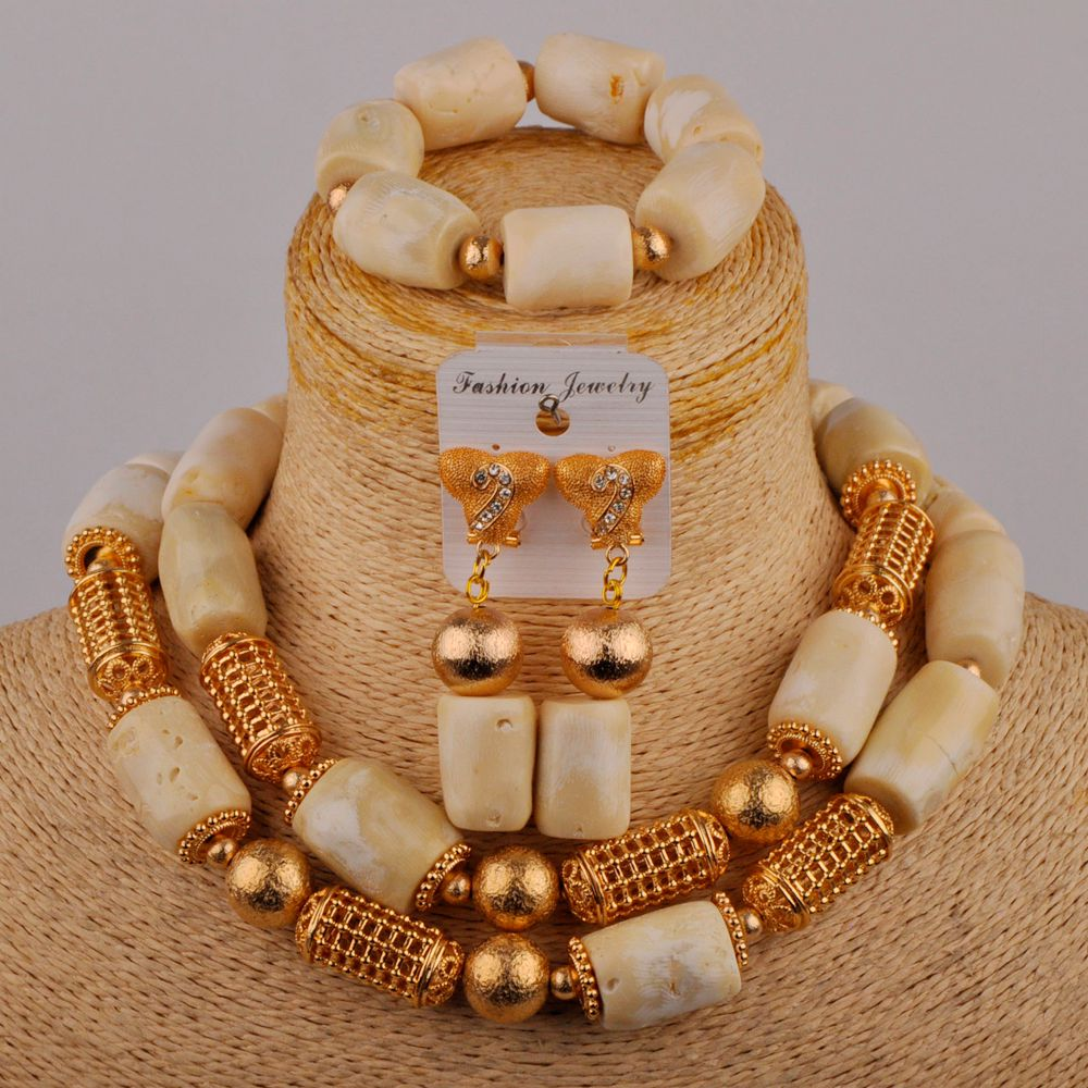 White Coral Beads Jewelry Set for Women 18'' Costume Necklace Nigerian Wedding African Jewelry Set