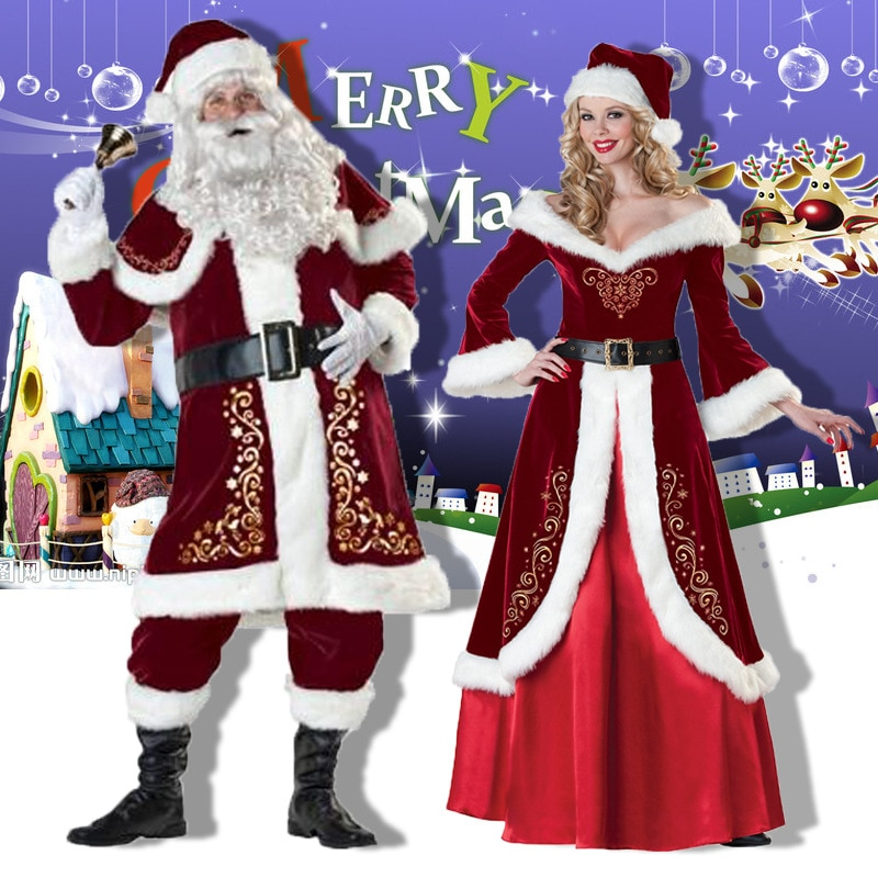 Christmas Costumes Santa Claus For Adults Red Women Men Christmas Clothes Santa Claus Costume newest christmas costume santa claus costume suit adult couple performance costume set outfit