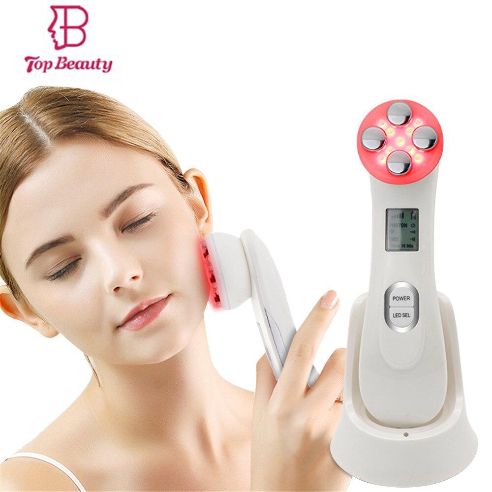 5in1 RF & EMS ميزوثيرابي Electroporation الوجه قلم تجميل تردد الراديو LED الفوتون الوجه تجديد الجلد مزيل التجاعيد