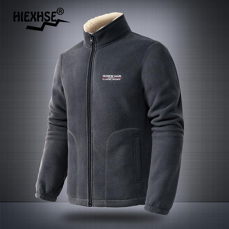 2021 Autumn Men Stand-Up Collar Casual Jacket Plush Padded Coat Outdoor Climbing Trekking Jacket Men Winter Thick Warm Jacket
