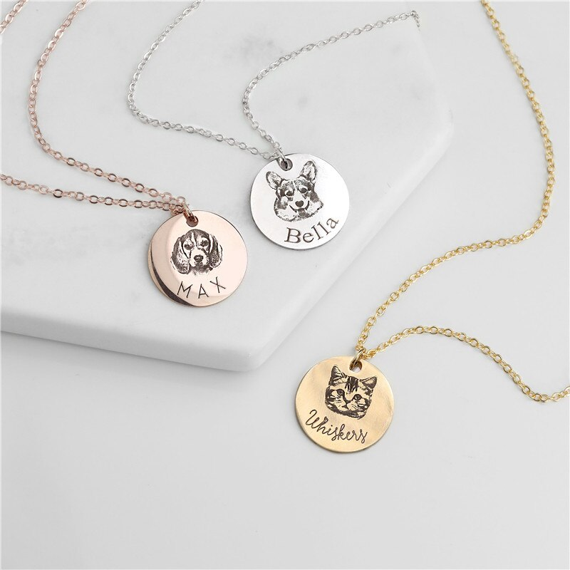 Animal Photo Necklace Stainless Steel Engraved Disc Pet Necklace Women Men Jewelry Friendship Gifts
