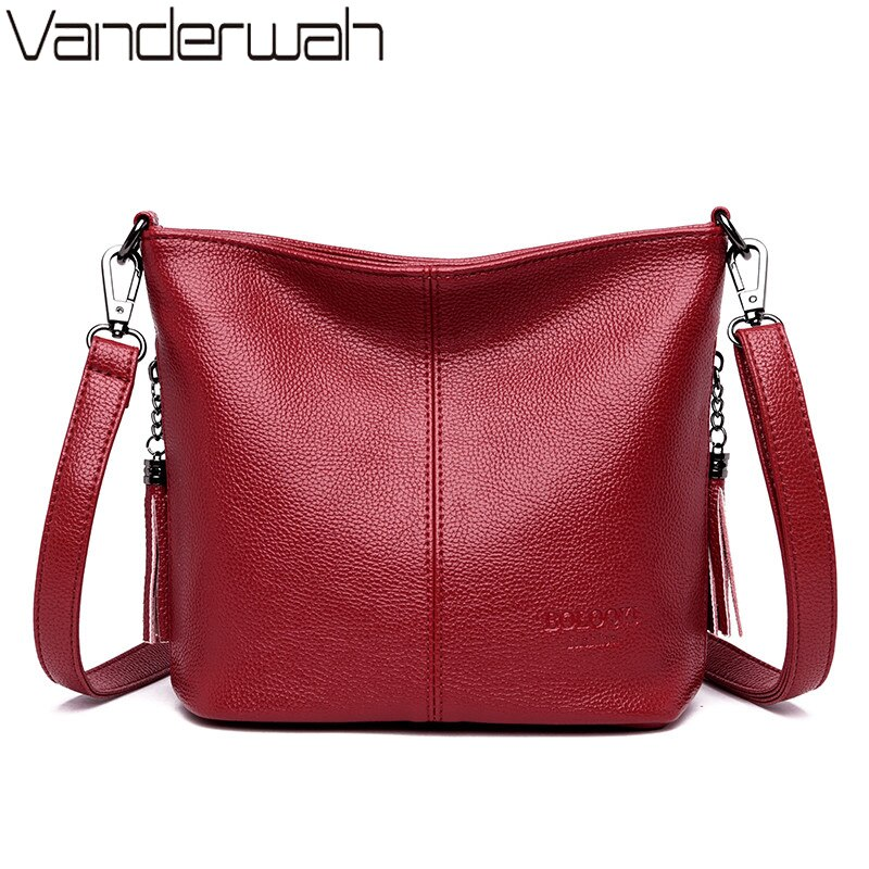 Ladies Hand Crossbody Bags For Women 2020 Luxury Purses And Handbags Women Leather Tassels Shoulder Bags Designer Bucket Sac
