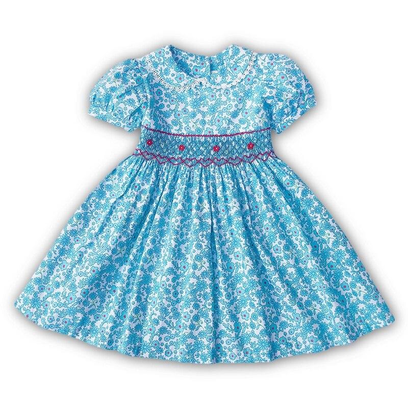 New Summer Kids Cyan Floral Printed Turn-down Lace lantern England Handmade Smock Belt Button Girls 3-7yrs Princess Dresses
