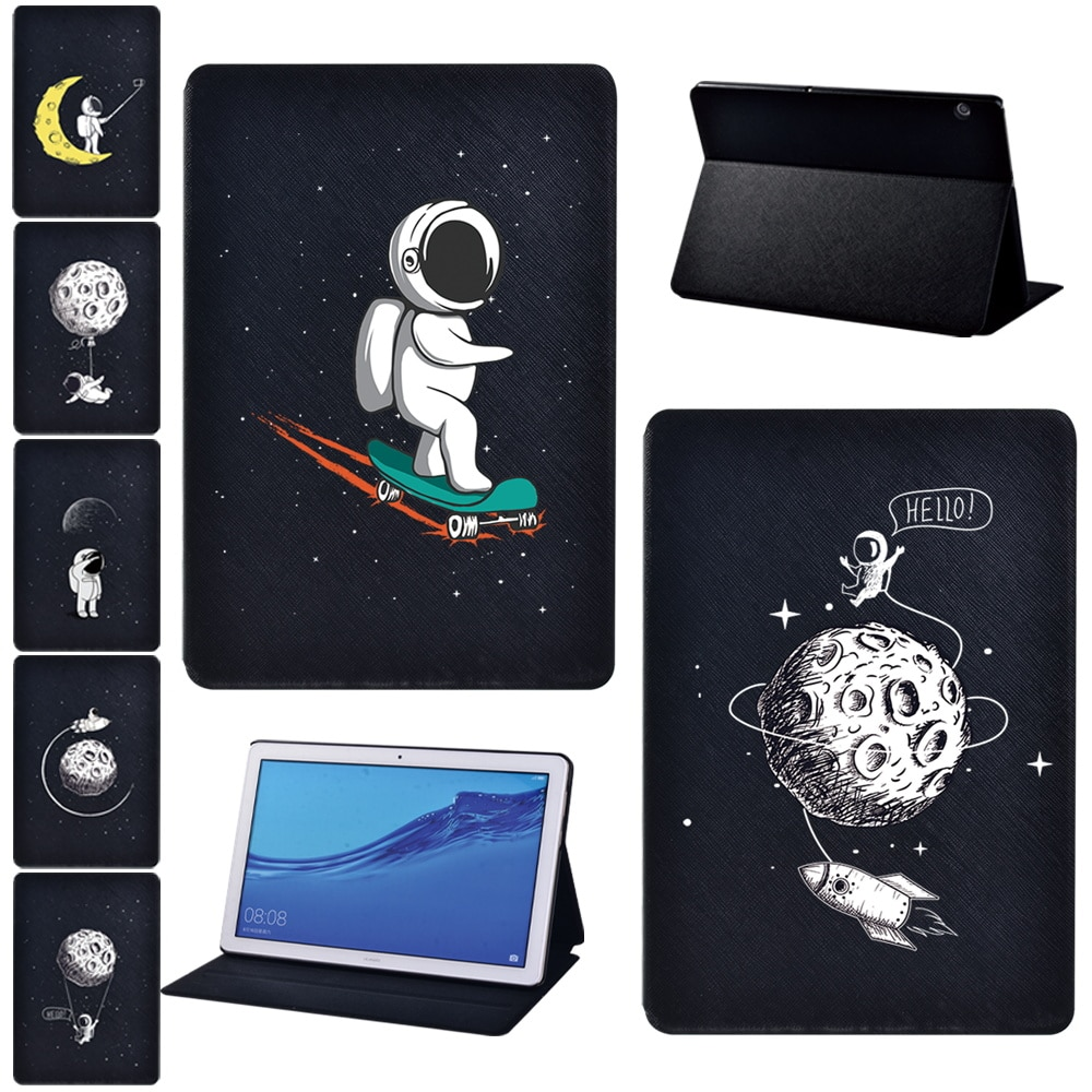 Tablet Case for Huawei MediaPad T3 8.0/T3 10 9.6/T5 10 10.1 Drop resistance Astronaut Print Series Pattern Pu Leather Cover