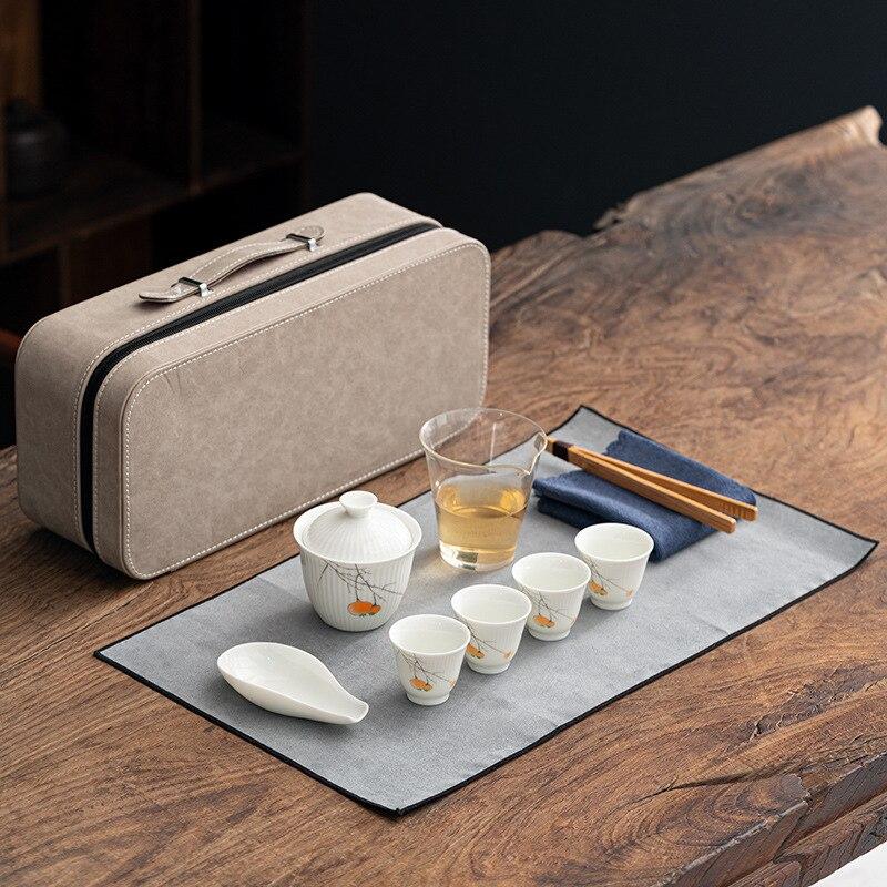 طقم شاي محمول جمالي السفر الصيني الكونغ فو الأبيض طقم شاي من السيراميك طقم شاي زينة هدية كوبك دو هيربتي تيوير BK50CJ
