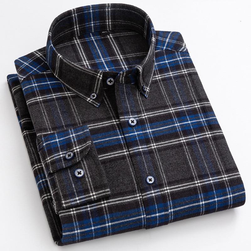Мужская Фланелевая рубашка в клетку, Повседневная рубашка из 100% хлопка с длинным рукавом, мягкая удобная приталенная рубашка, мужские топы, ...