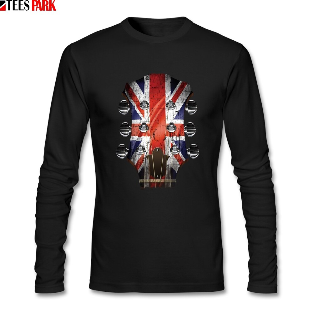 Guitarra cabeza Stock Reino Unido bandera camiseta hombres otoño manga larga Camisetas cuello redondo ropa de hombre camisetas divertidas abstracto superior