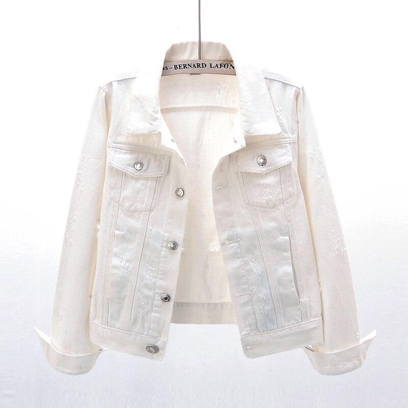Белая джинсовая куртка, Женская корейская мода с длинным рукавом, женская короткая джинсовая куртка, Женская Облегающая джинсовая куртка с ...