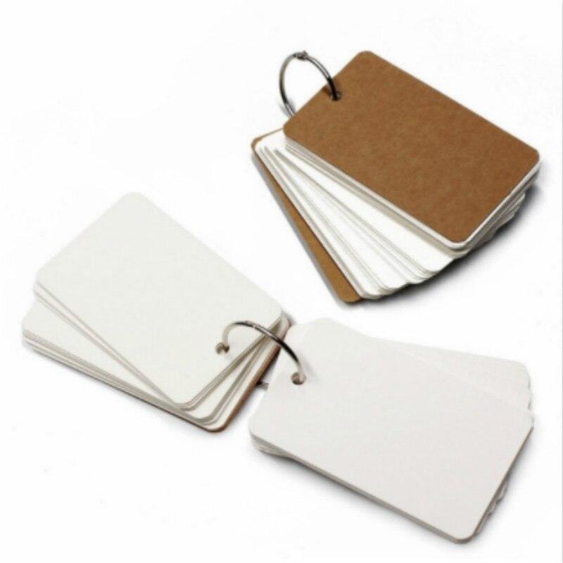 9*5,4 cm anillo de carpeta Hojeo fácil tarjetas de estudio de las 50 Unruled páginas en blanco para escribiendo Bloc de notas