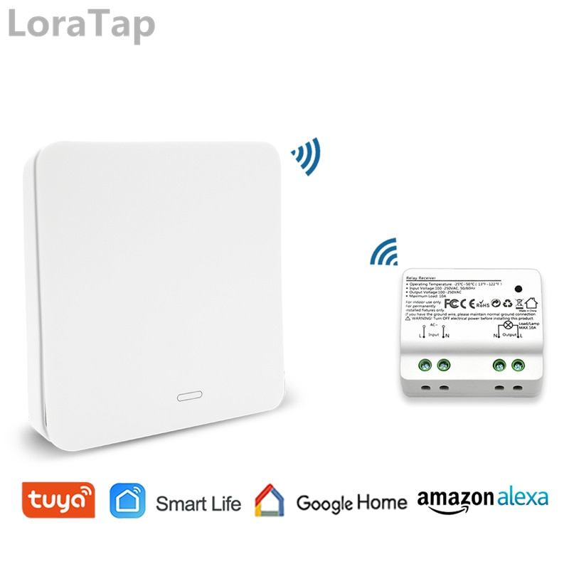 Tuya Smart Life WiFi Switch con RF Kinetic autoalimentado Control remoto interruptor inalámbrico, Alexa Echo Google Control de voz en casa