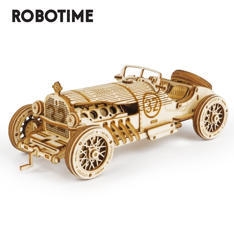 Robotime 1:16 220pcs Classic DIY Movable 3D Grand Prix Car Wooden Model Building Kit Assembly Toy Gift for Children  MC401