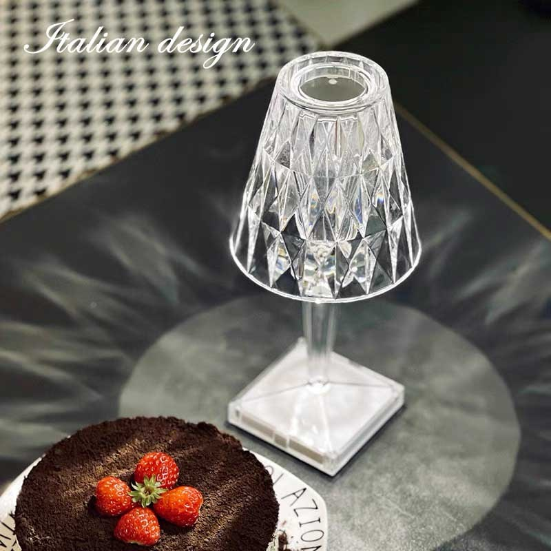 Фото - Brand new Italian design acrylic Kartell table lamp rechargeable crystal art deco LED night light touch light bedroom italian interior design