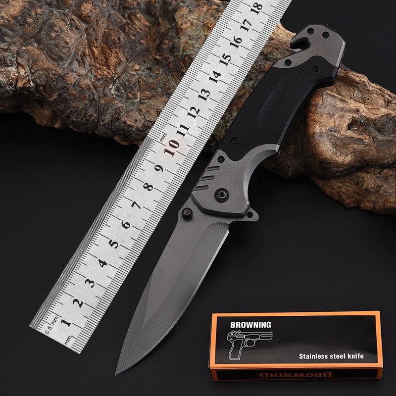 Cuchillo plegable gris 7CR17Mov G10 Blade táctico Camping supervivencia combate Navajas de bolsillo Jack Outdoo cuchillo EDC caza Multi herramientas