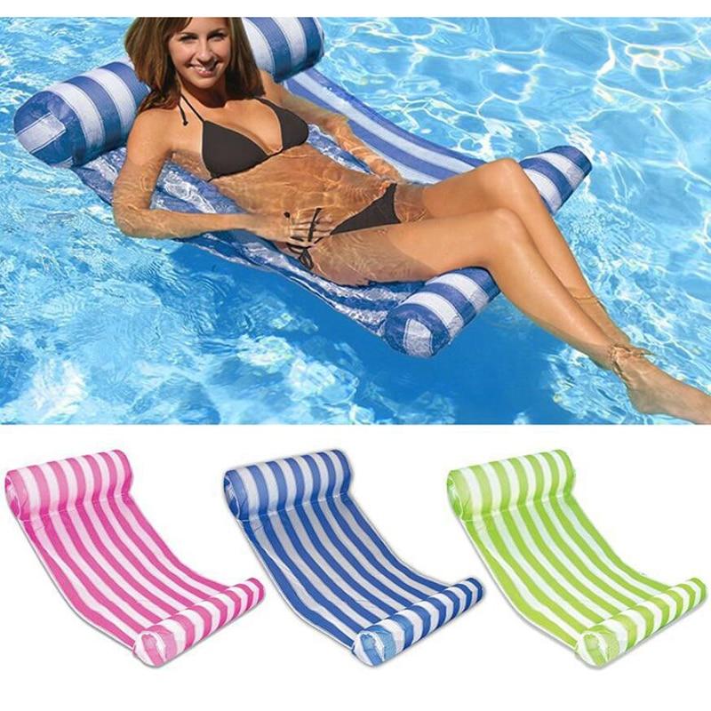Летний надувной складной плавающий ряд, водный гамак для бассейна, воздушные матрасы, кровать для пляжа, игрушка для бассейна, водный шезлон...