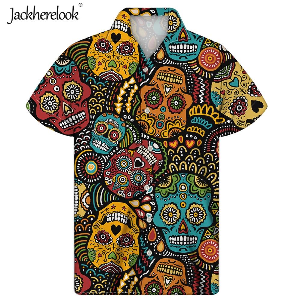 Jackherelook-Camisa cubana Vintage para Hombre, Camisa masculina de manga corta con diseño...