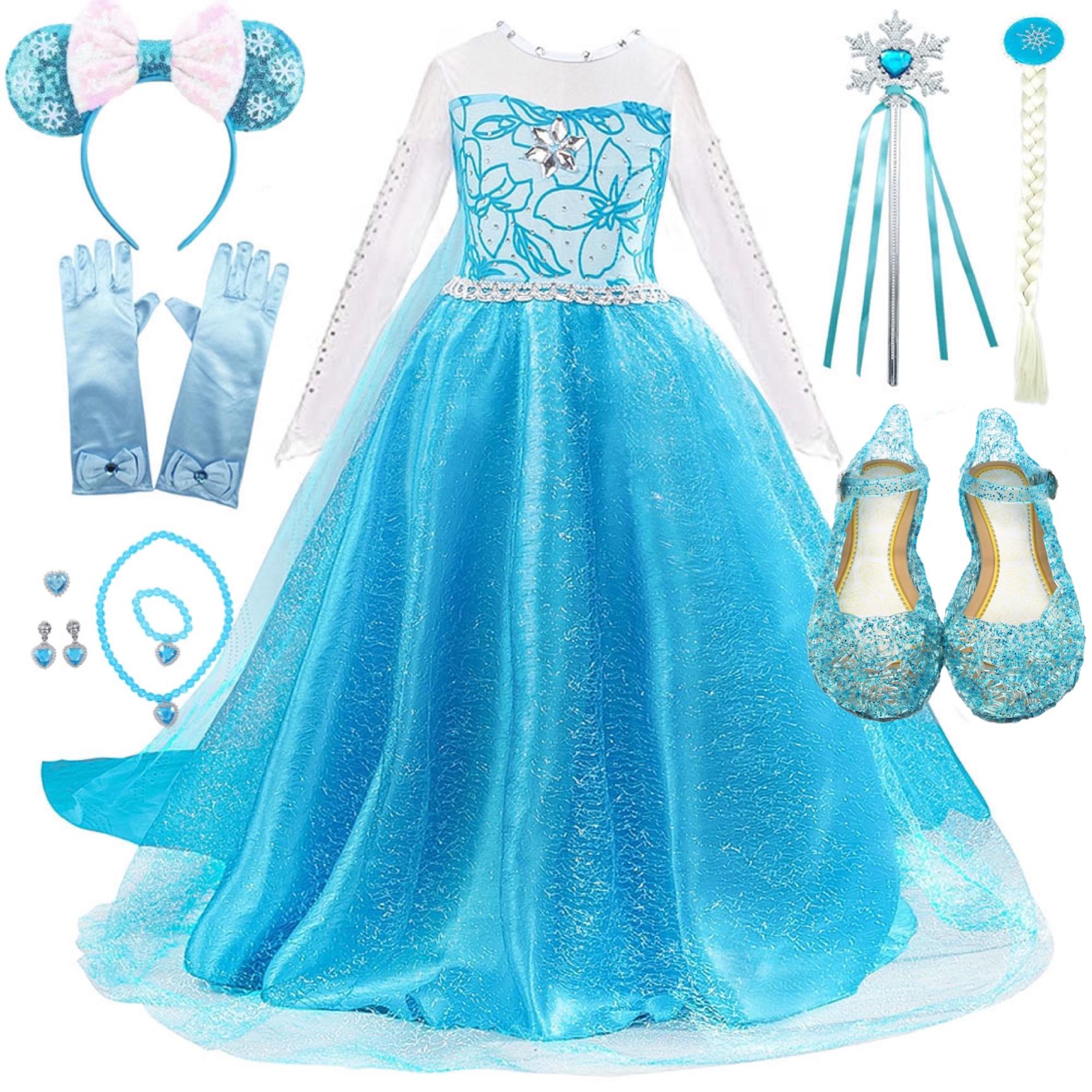м мадера долина эдельвейсов и день рождения принцессы Платье принцессы снег Queen2 девушки фантазии Анна Эльза Костюм День рождения Косплей одежда с длинным плащ парик Vestido XH28