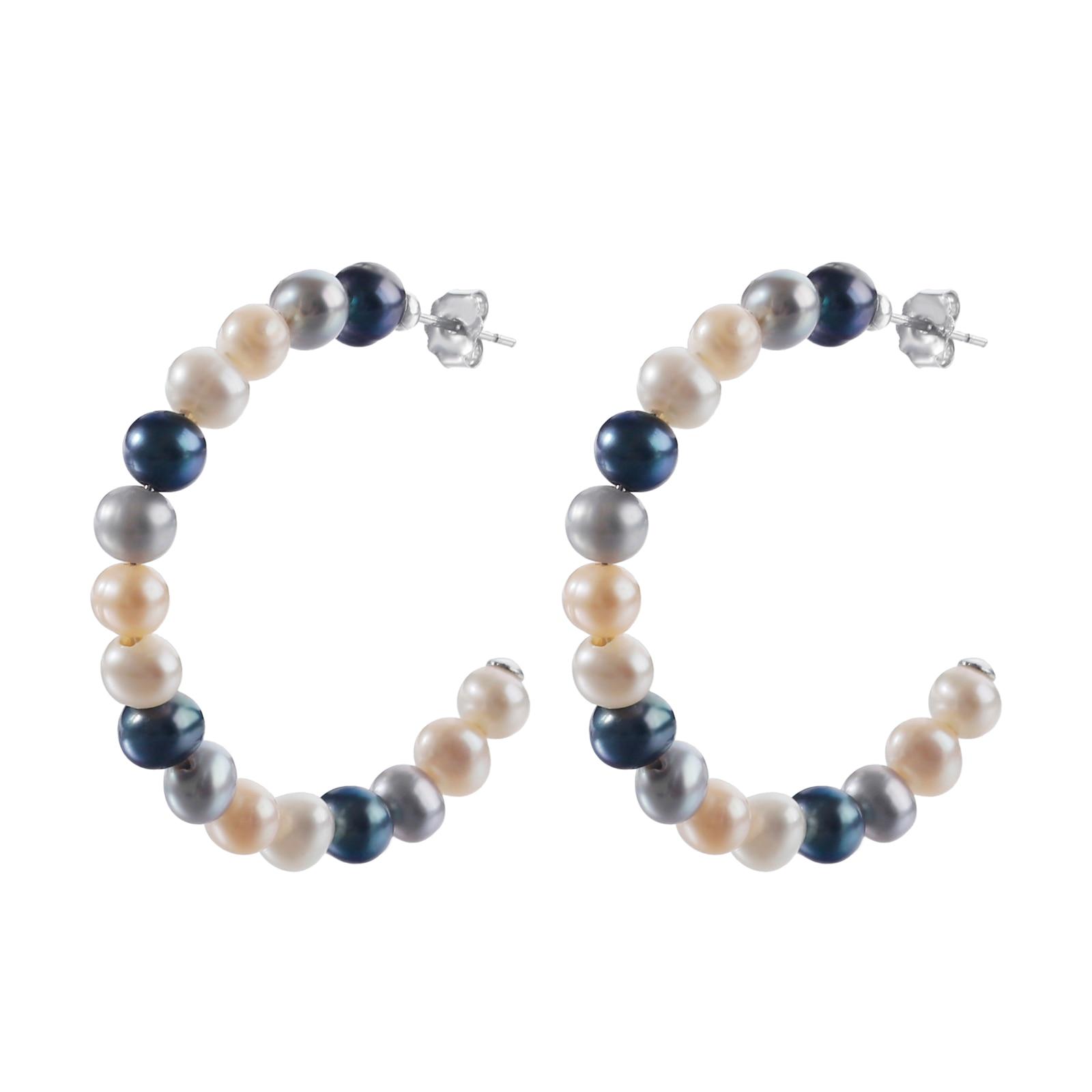 Hoop Earrings Natural Colorful Freshwater Pearl 925 Sterling Silver Large Circle Earrings for Women